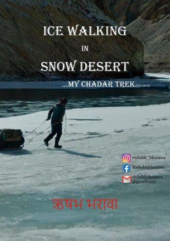 Ice walking in snow desert