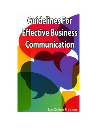 Guidelines For Effective Business Communication