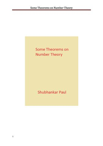 Some Theorems on Number Theory