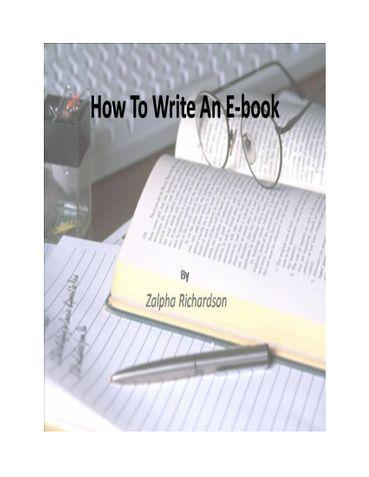 How To Write An E-book