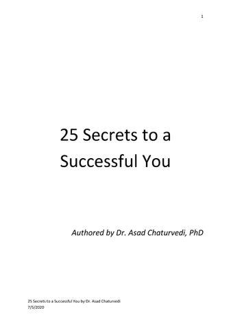25 Secrets to a Successful You