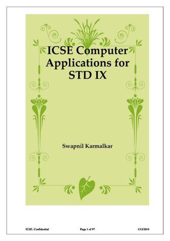 ICSE Computer Applications for STD IX