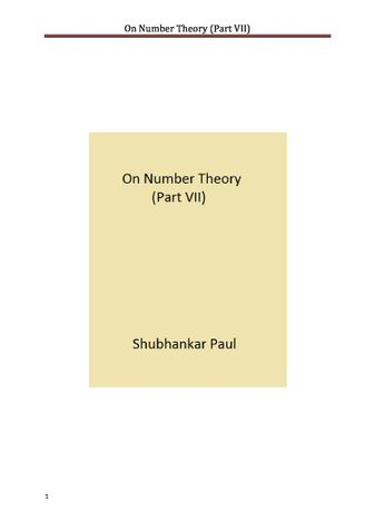On Number Theory (Part VII)