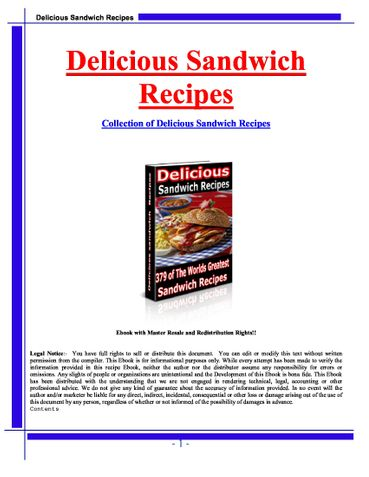 Delicious Sandwich Recipies