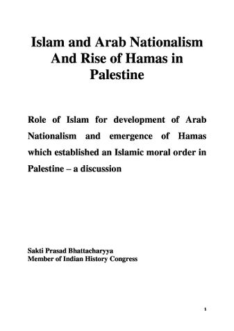 Islam and Arab Nationalism And Rise of Hamas in Palestine