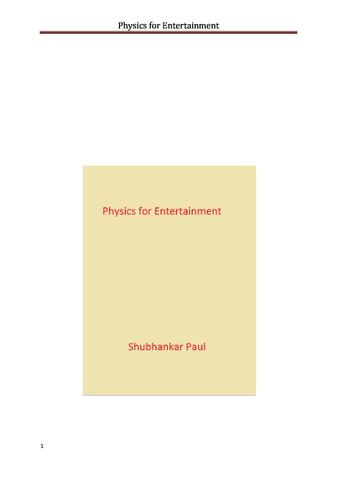 Physics for Entertainment