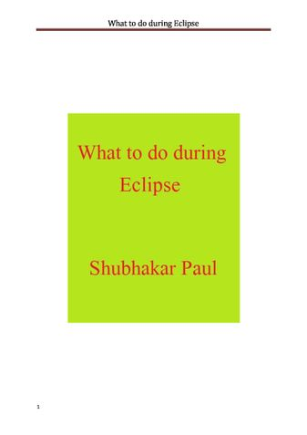 What to do during Eclipse