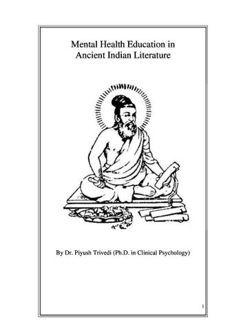 Mental Health Education in Ancient Indian Literature