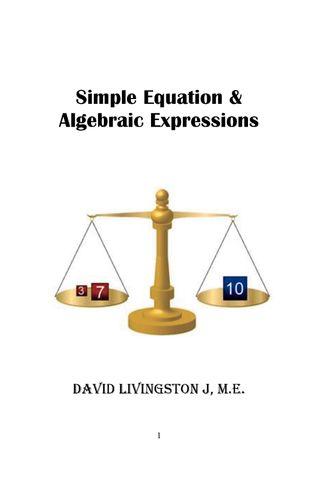 Simple Equation & Algebraic Expressions