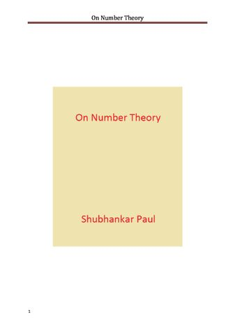 On Number Theory