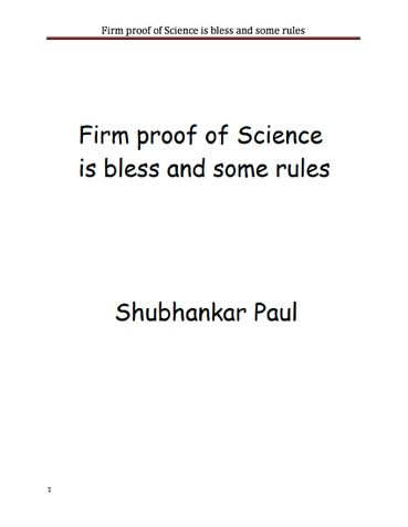 Firm proof of Science is bless and some rules