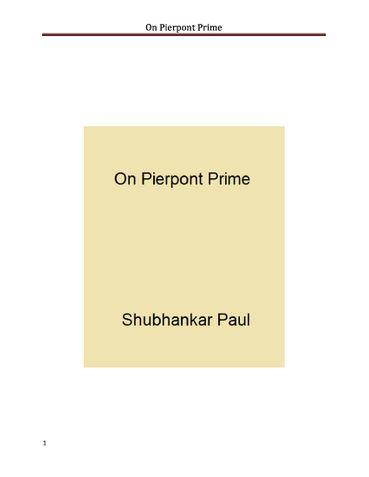 On Pierpont Prime