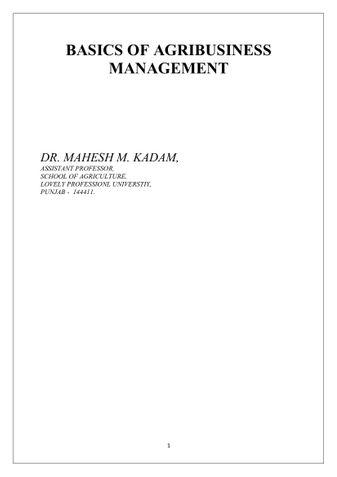 BASICS OF AGRIBUSINESS MANAGEMENT