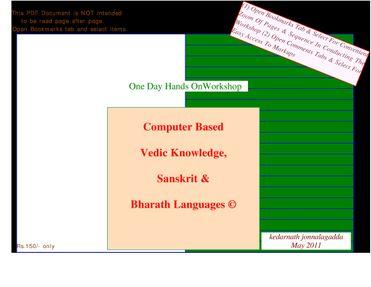 Computer Based Vedic Knowledge, Sanskrit & Bharath Languages