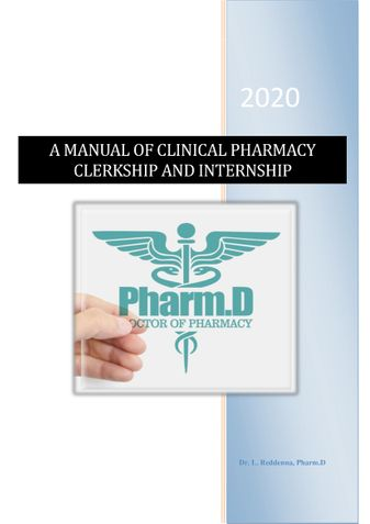 A MANUAL OF CLINICAL PHARMACY   CLERKSHIP AND INTERNSHIP