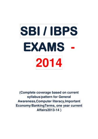 SBI/ IBPS -2014 Special Edition