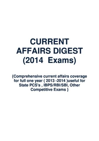 CURRENT AFFAIRS DIGEST FOR 2014 EXAMS