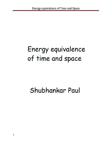 Energy equivalence of time and space