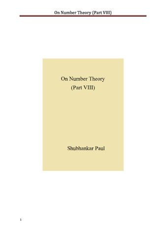On Number Theory (Part VIII)