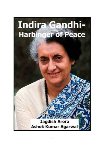 Indira Gandhi-Harbinger of Peace