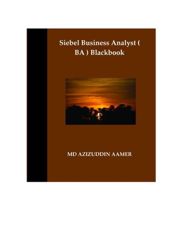 Siebel Business Analyst ( BA ) Blackbook