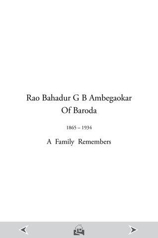 Rao Bahadur G. B. Ambegaokar of Baroda 1865 - 1934