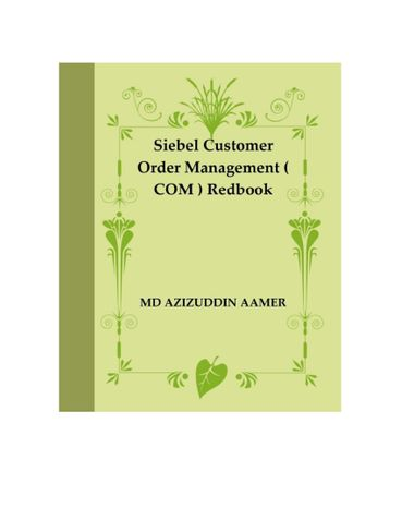 Siebel  Customer Order Management ( COM ) Redbook
