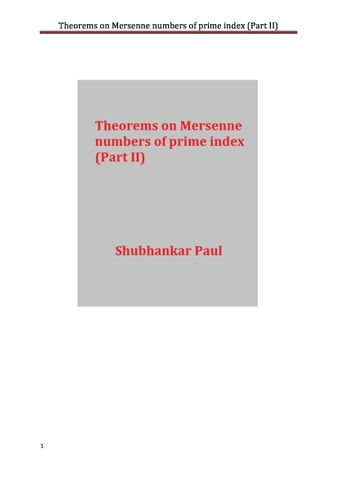 Theorems on Mersenne numbers of prime index (Part II)