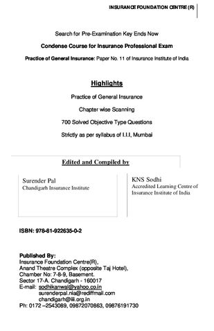 IC 11 Practice of General Insurance
