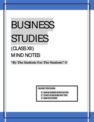 BUSINESS STUDIES CLASS XII