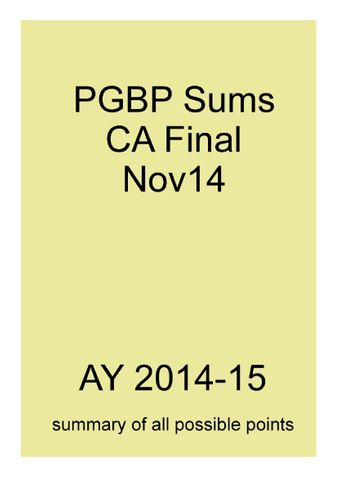PGBP Sums for CA Final Nov14