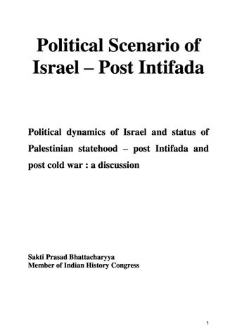 Political Scenario of Israel - Post Intifada