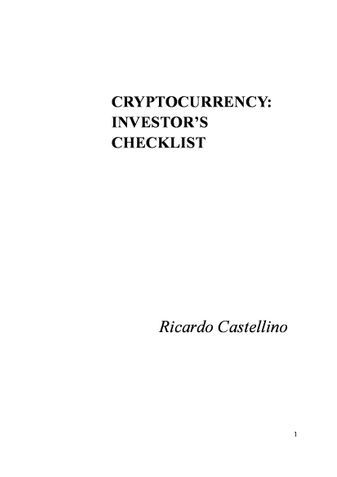 CRYPTOCURRENCY: INVESTOR'S CHECKLIST