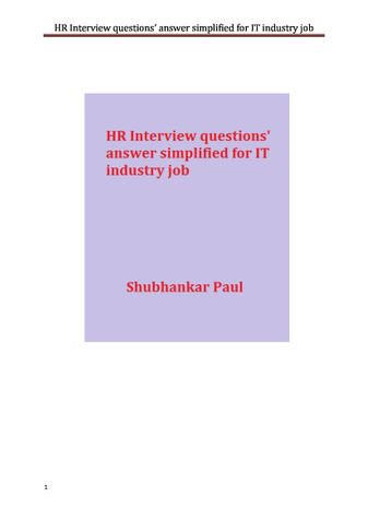 HR Interview questions' answer simplified for IT industry job
