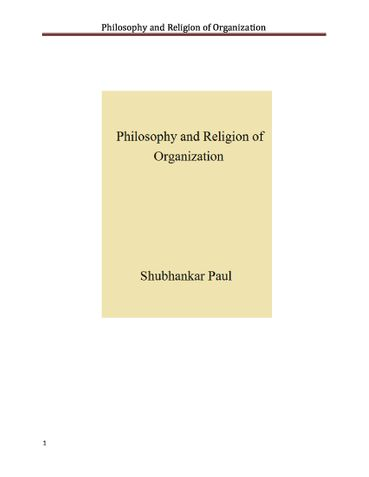 Philosophy and Religion of Organization