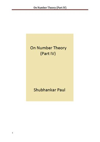 On Number Theory (Part IV)