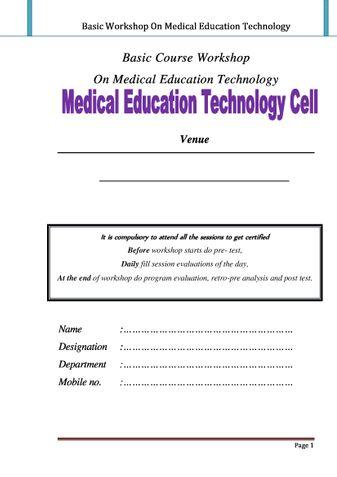 Basic Workshop On Medical Education Technology