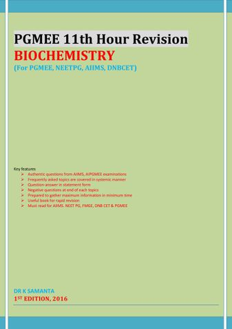PGMEE 11th Hour Revision BIOCHEMISTRY