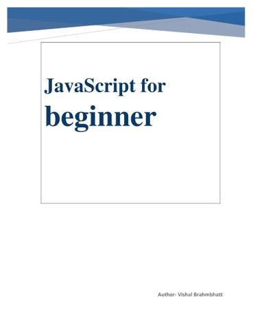 JavaScript for beginner