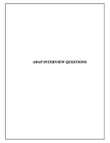 ABAP INTERVIEW QUESTIONS