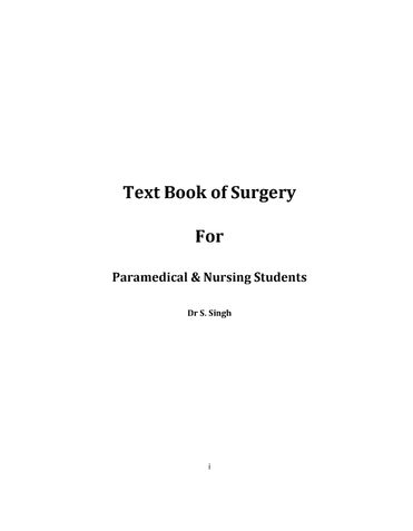 Textbook of Surgery for Paramedical & Nursing Students