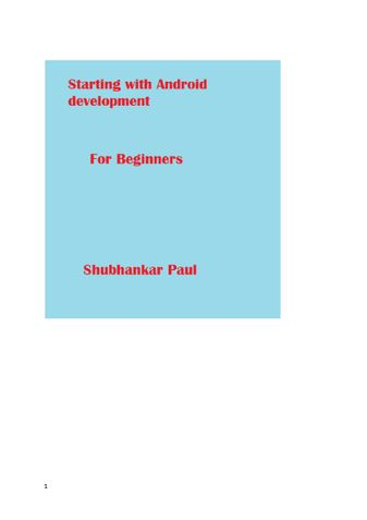 Starting with Android Development