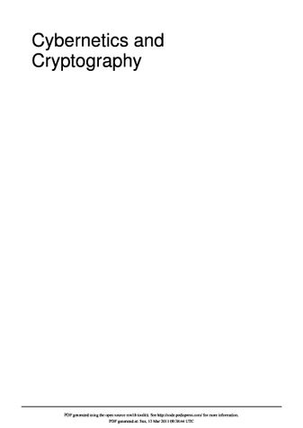 Cybernetics and Cryptography