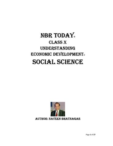 NBR TODAY CLASS X: Social Science Understanding Economic Development
