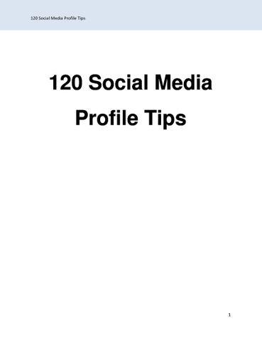 120 Social Media Profile Tips