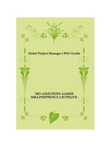 Siebel Project Manager ( PM ) Guide