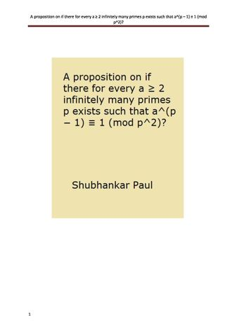 A proposition on if there for every a ≥ 2 infinitely many primes p exists such that a^(p – 1) ≡ 1 (mod p^2)