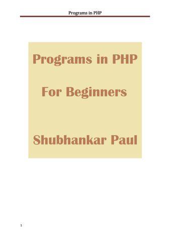 Programs in PHP