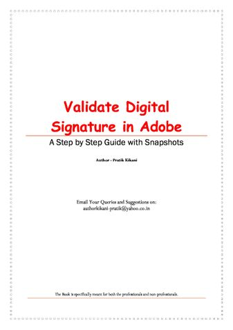 Validate Digital Signature in Adobe
