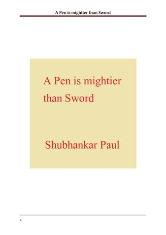 A Pen is mightier than Sword